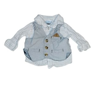 Little Lad Button down shirt attached Vest 3-6M